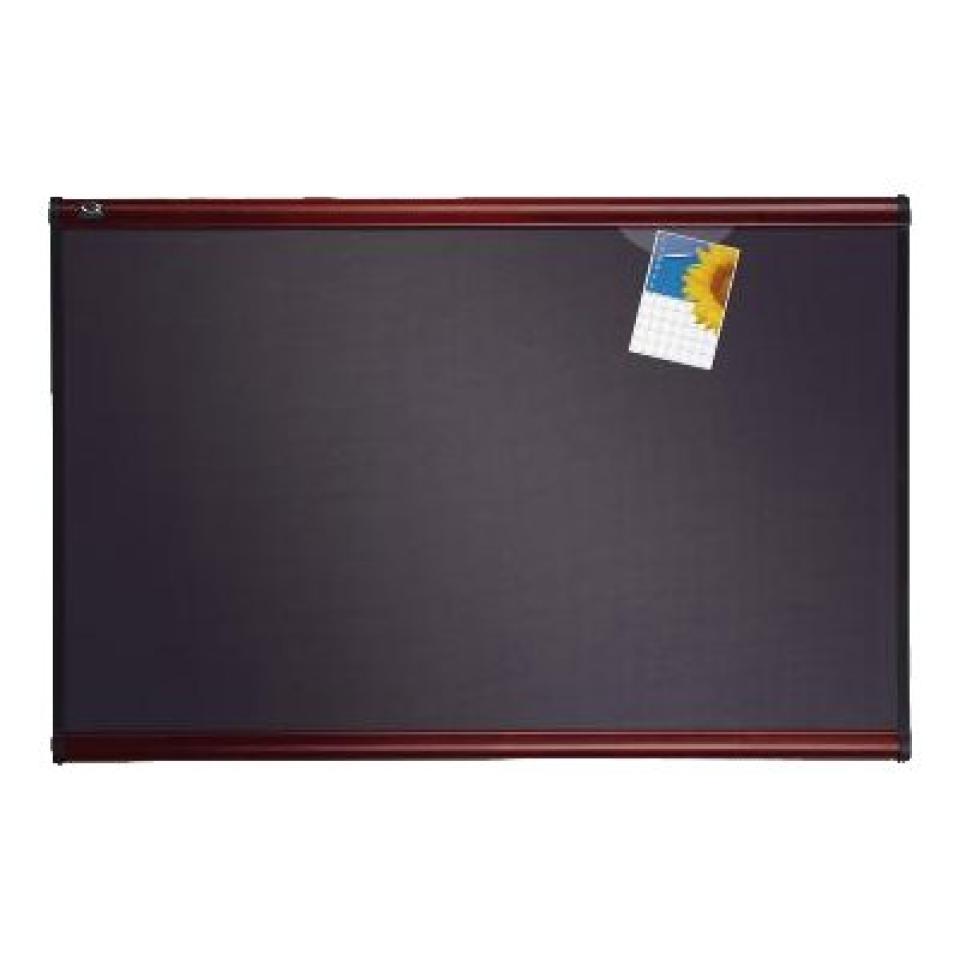 Quartet Prestige Fabric Bulletin Board Mahogany Frame 1200 x 900mm Grey Diamond