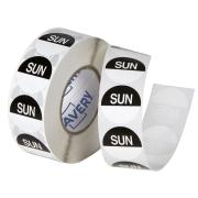 Avery Food Rotation Sunday Day Label Removable Adhesive Black 24mm Round Roll 1000