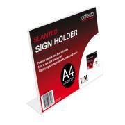 Deflecto Sign Menu Holder Slanted Landscape A4 Clear
