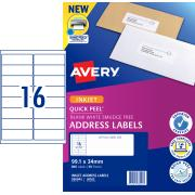 Avery Address Labels with Quick Peel for Inkjet Printers - 99.1 x 34mm - 800 Labels (J8162)