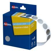 Avery Silver Circle Dispenser Labels - 14mm diameter - 500 Labels