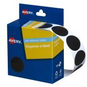 Avery Black Circle Dispenser Labels - 24mm diameter - 500 Labels