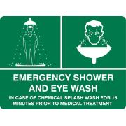 Brady 843182 Sign Emergency Shower And Eye Wash Vinyl 180H X250W mm