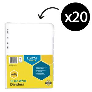Marbig Dividers Manilla A4 White 10 Tab Pack 20