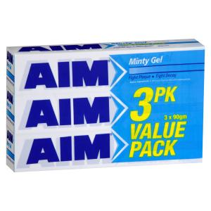 Aim Minty Gel Regular Toothpaste 3x270g Value Pack