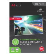 GBC A4 80 Micron Gloss Hig  Speed Laminating Pouches Pack 100