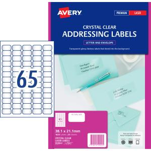 Avery Crystal Clear Address Labels for Laser Printers - 38 1 x 21 2mm -  1625 Labels (L7551)