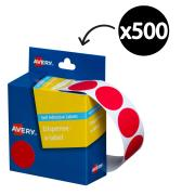 Avery Red Circle Dispenser Labels 24mm Diameter 500 Labels