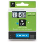 Dymo D1 Label Printer Tape 19mm x 7m Black On Clear