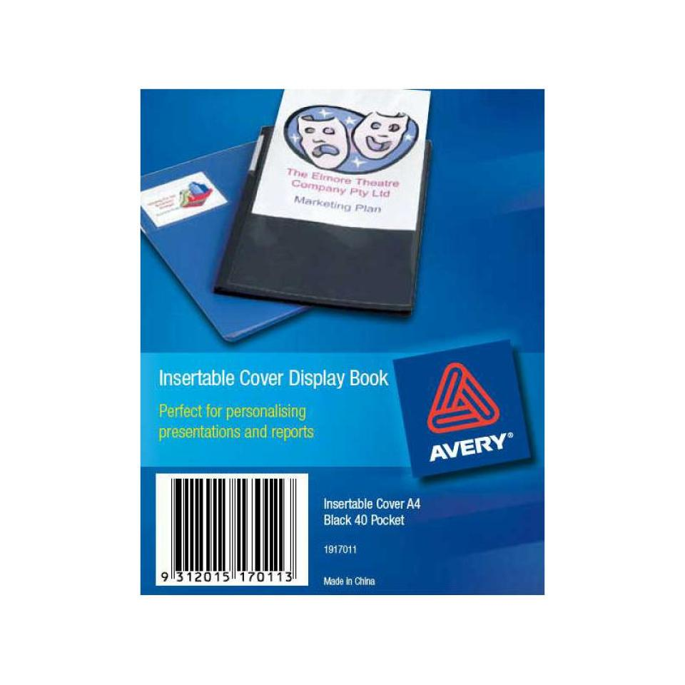 Avery Classic A4 Insert Display Book 40 Pocket Black