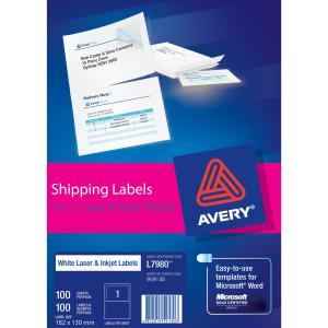 Avery Shipping Label with paper receipt for Laser Printers - 182 x 130 mm -  100 Labels (L7980)