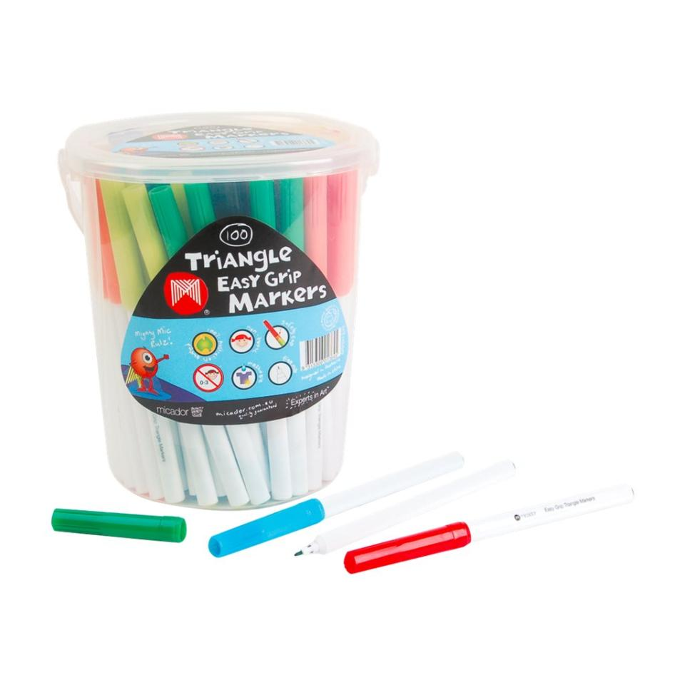 Micador Triangle Coloured Markers Assorted Tub 100