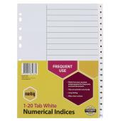 Marbig A4 Polypropylene Dividers Numbered 1-20 Tab White