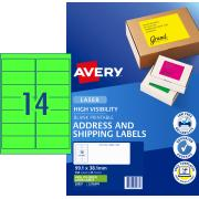 Avery Fluoro Green Shipping Labels for Laser Printers - 99.1 x 38.1mm - 350 Labels (L7163FG)