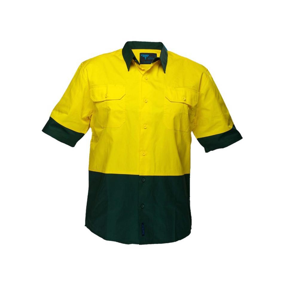 Prime Mover Wwl802 Hi Vis Cotton Drill Light Weight Short Sleeve Shirt