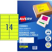 Avery Fluoro Yellow Shipping Labels for Laser Printers - 99.1 x 38.1mm - 350 Labels (L7163FY)