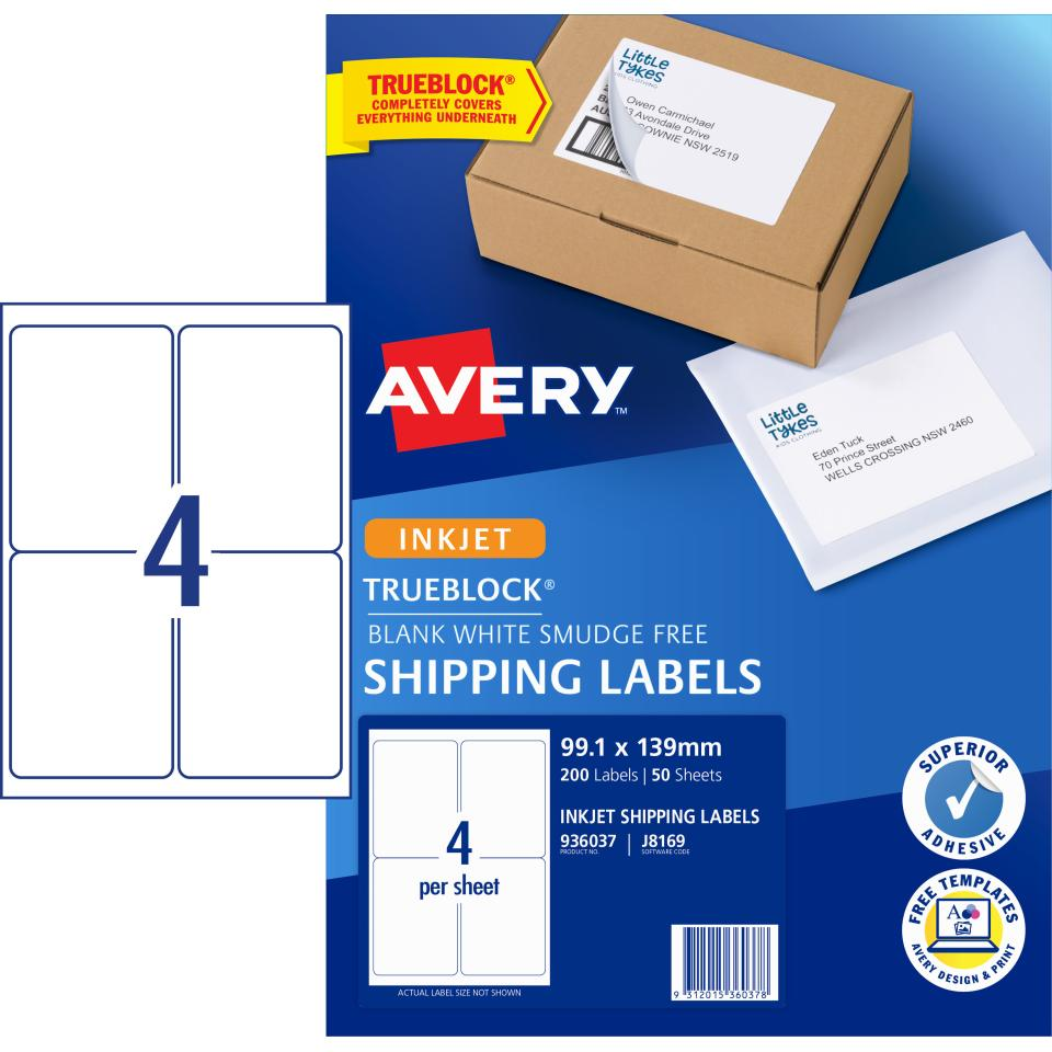 Avery Shipping Labels with TrueBlock for Inkjet Printers - 99.1 x 139mm - 200 Labels (J8169)