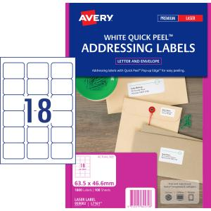 avery address labels with quick peel for laser printers 635 x 466 mm 1800