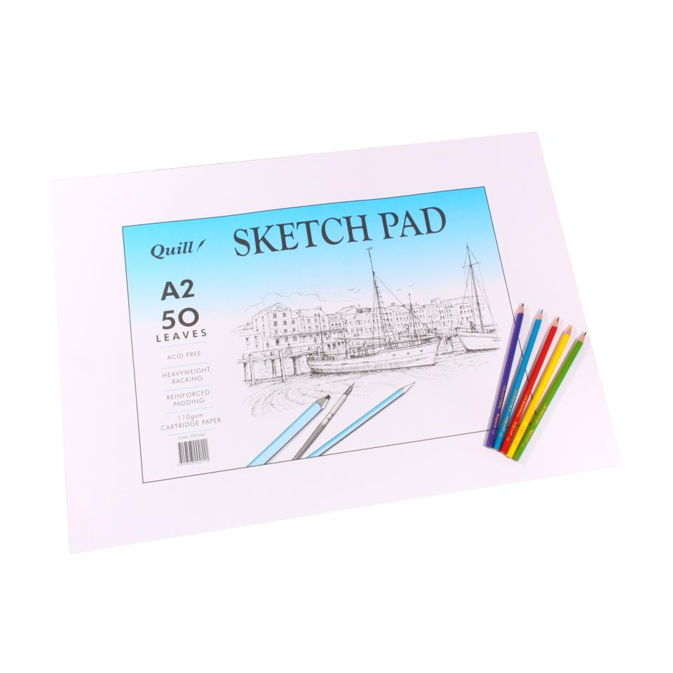 Quill Sketch Pad 110gsm A2 50 Sheets