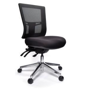 Buro Metro II 24/7 Medium Back 3 Lever Chair With Polished Aluminium Base Black