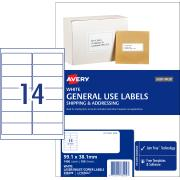 Avery General Use Labels - 99.1 x 38.1 mm - 1400 Labels (L7163GU)