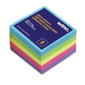 Winc Self-Stick Removable Notes 76X76mm Bold/Ultra 5 Pads Pack