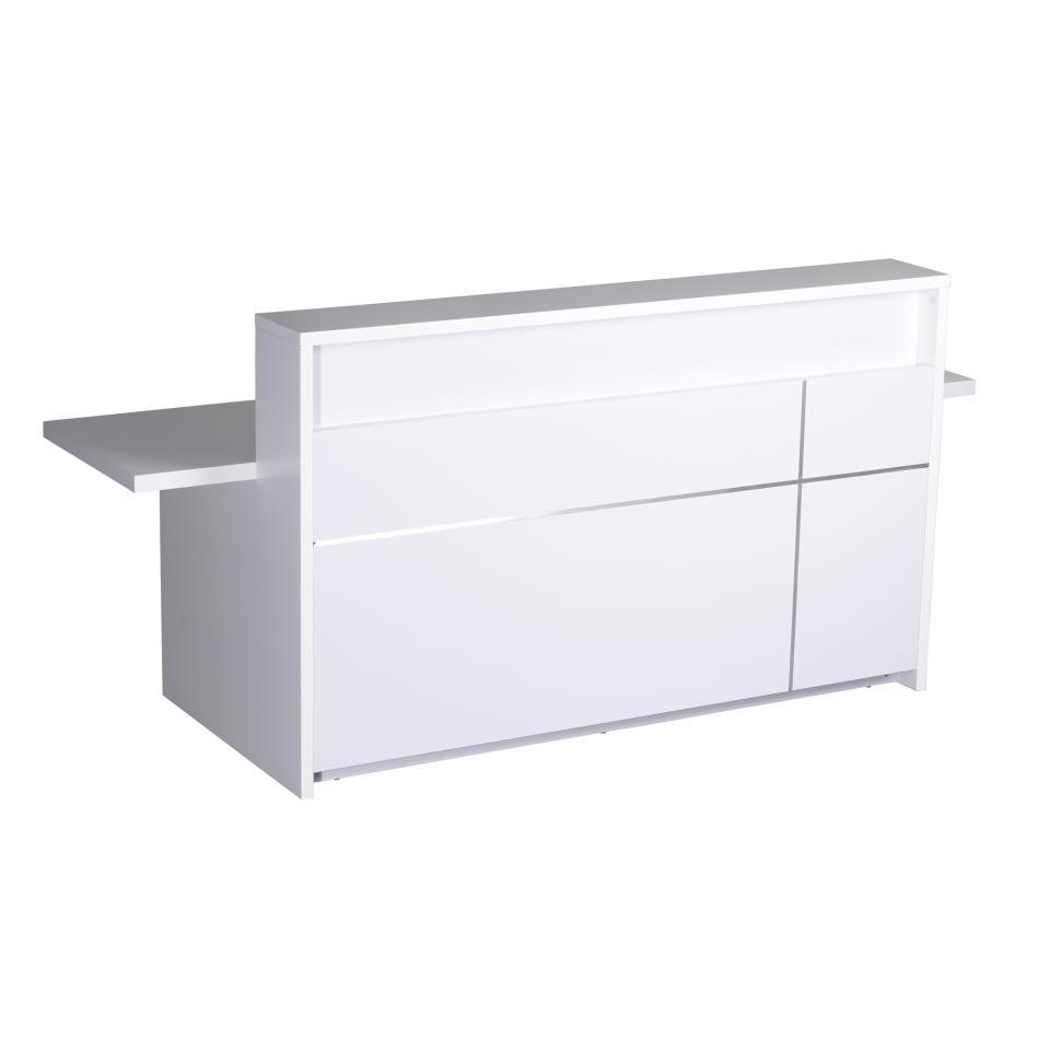 Rapid Line 5-0 Reception Counter 1100h x 2400w x 848dmm Gloss White Veneer
