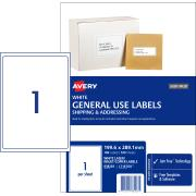 Avery General Use Labels - 199.6 x 289.1mm - 100 Labels (L7167GU)