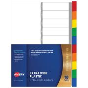 Avery Plastic Dividers - Multi-coloured - Extra Wide - 1-10 Tabs