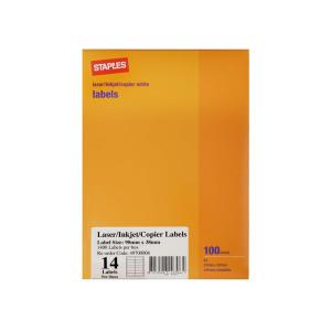 Staples Labels Laser/Inkjet A4 Sheet 14 Labels 98X38mm 100 Sheets/Box