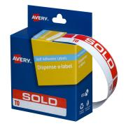 Avery Sold To Dispenser Labels - 64 x 19mm - 125 Labels