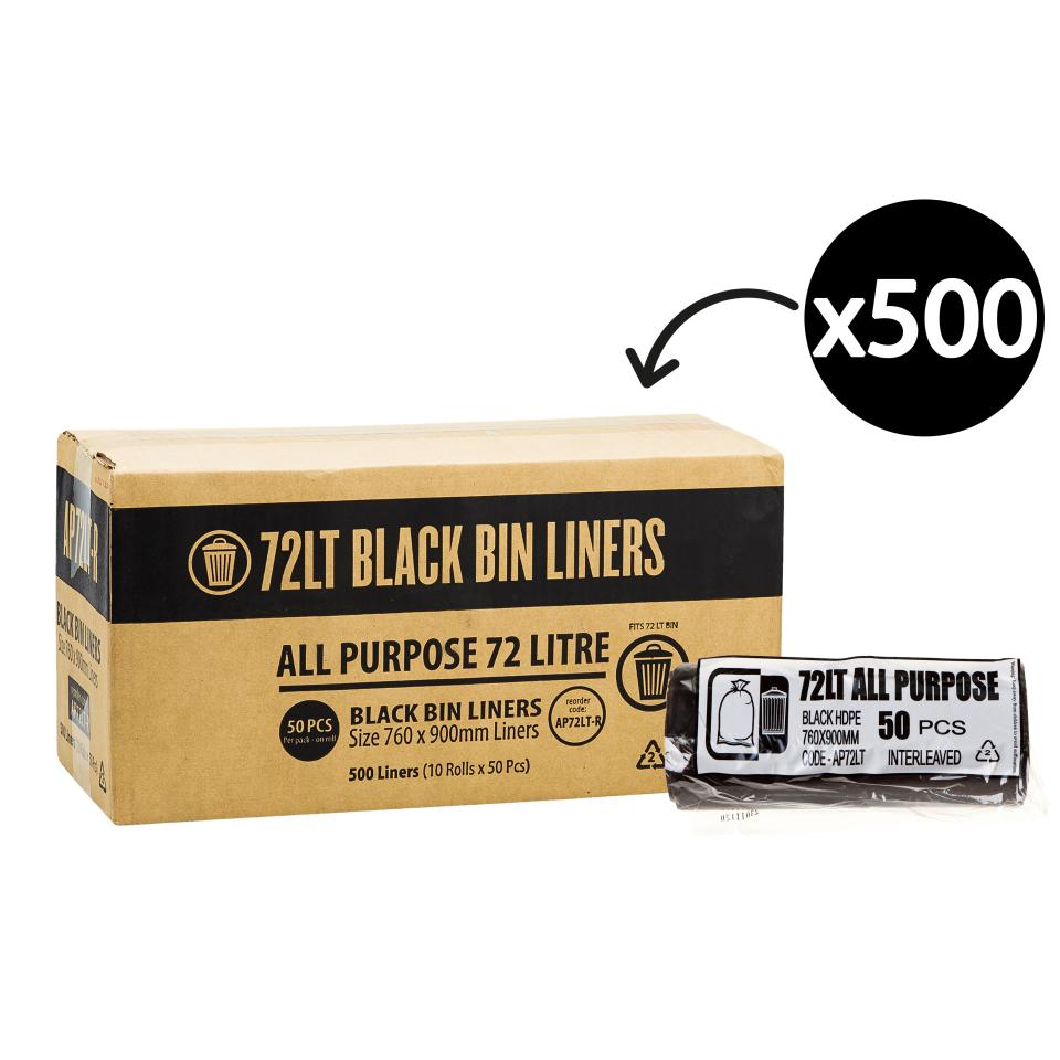 Austar Bin Liners All Purpose 72 Litre Black Roll 50 Carton 500