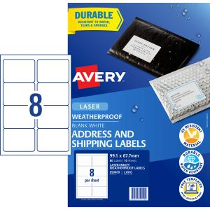 Avery WeatherProof Shipping Labels for Laser Printers - 99.1 x 67.7mm - 80 Labels (L7070)