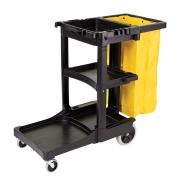 Rubbermaid Commercial Traditional Janitorial Cleaning Cart with Zippered Yellow Vinyl Bag Black