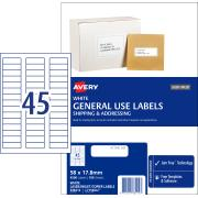 Avery General Use Labels - 58 x 17.8mm - 4500 Labels (L7156GU)