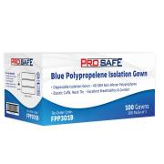 Polypropylene Isolation Gown Neck Tie With Elastic Cuffs Blue Carton 100
