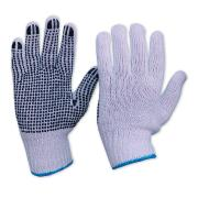 Paramount Mens Knitted PolyCotton Gloves with PVC Polka Dots