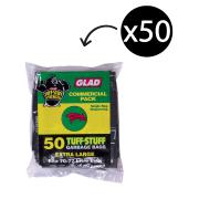 Glad Premium Garbage Bag 28Um 70-77 Litre Black Pack 50
