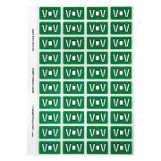 Avery Colour Coding Labels Alphabet V Self Adhesive Dark Green Pack 240