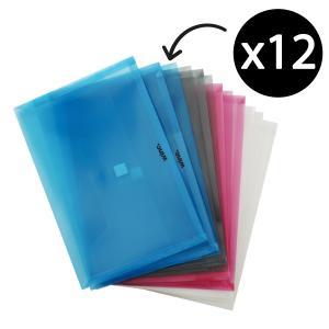 Winc Polypropylene Document Wallet Hook & Loop Foolscap Translucent Assorted Pack 12