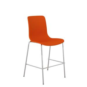 Acti Low Stool With Chrome 4 Leg Frame and Foot Rail Orange