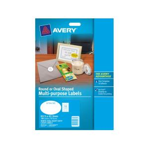 Avery 959163 White Oval Laser & Inkjet Labels Multi Purpose 18 Labels Pack 10