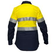 Prime Mover Womens Long sleeve Cotton Drill shirt with 3M Reflective Tape