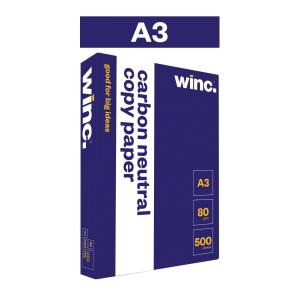 Winc Copy Paper Carbon Neutral 80gsm A3 White Box 3 Reams