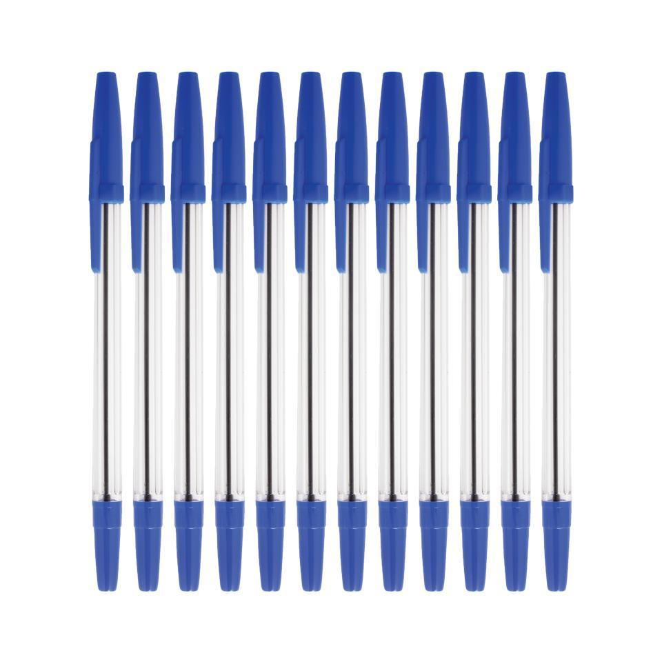 Winc Clear Stick Ballpoint Pen Medium 1.0mm Blue Box 12