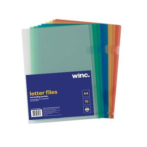Winc Letter File A4 Assorted Colours PK 10 2 x 5 colours  clear green blue yellow red
