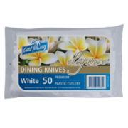 Castaway Elegance White Plastic Dining Knives Pack 50