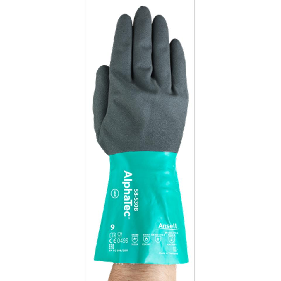 Ansell AlphaTec 58-530 Nitrile Coat Chemical Glove Nylon Lined Pair