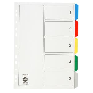 Marbig Dividers Polypropylene Coloured Tab A4 White 5 Tab