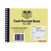 Spirax No.504 Cash Receipt Book NCR 50 Sets 102X127mm